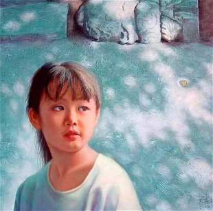 Original Oil on canvas by Cunyu Wang Girl and Marbles