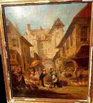 Antique Painting Paris Old 1853, Fair Market Ancient