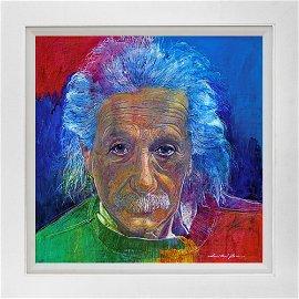 Albert Einstein the Genius Hand Embellished  on canvas