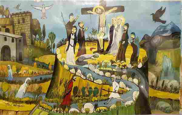 Original oil on canvas LUIS MILLINGALLI (Equador) SAN