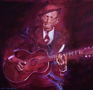 Robert Johnson by David Lloyd Glover Mixed Media Canvas