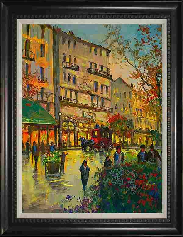 Michael Schofield Hand embellished canvas Paris