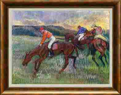Horses Hand Embellished on canvas Edgar Degas