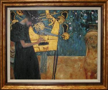 After Gustav Klimt-Limited Edition ink on canvas