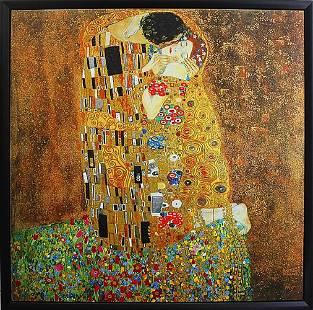The Kiss After Gustav Klimt. Image size 32x32. Canvas