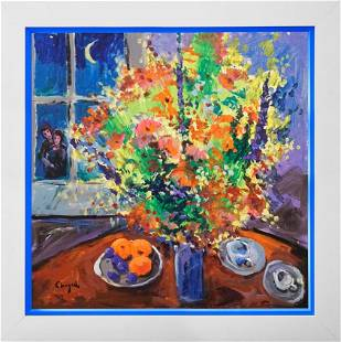 Original on canvas in the manner of Marc Chagall