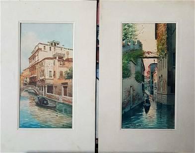Old Pair of Italian Paintings illegible signature