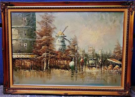 George Marinus Tamson Landscape of Paris Oil original