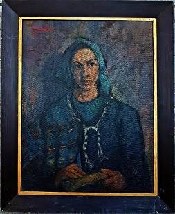 Old European oil painting female portrait, illegible