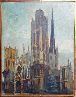 Old European Painting Church signature illegible
