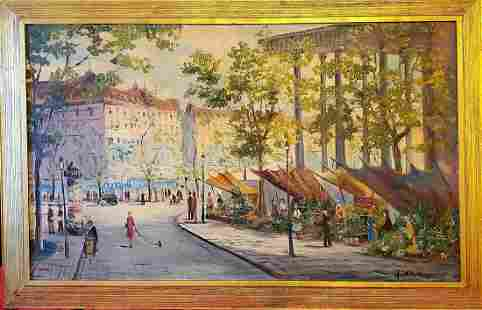 Large French painting, View of Paris signed J. Kraus