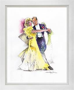 Fred Astair and Ginger Rogers Mixed Media Original on