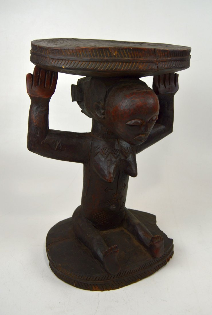A Very Fine old Luba Prestige Stool, African Art - 3