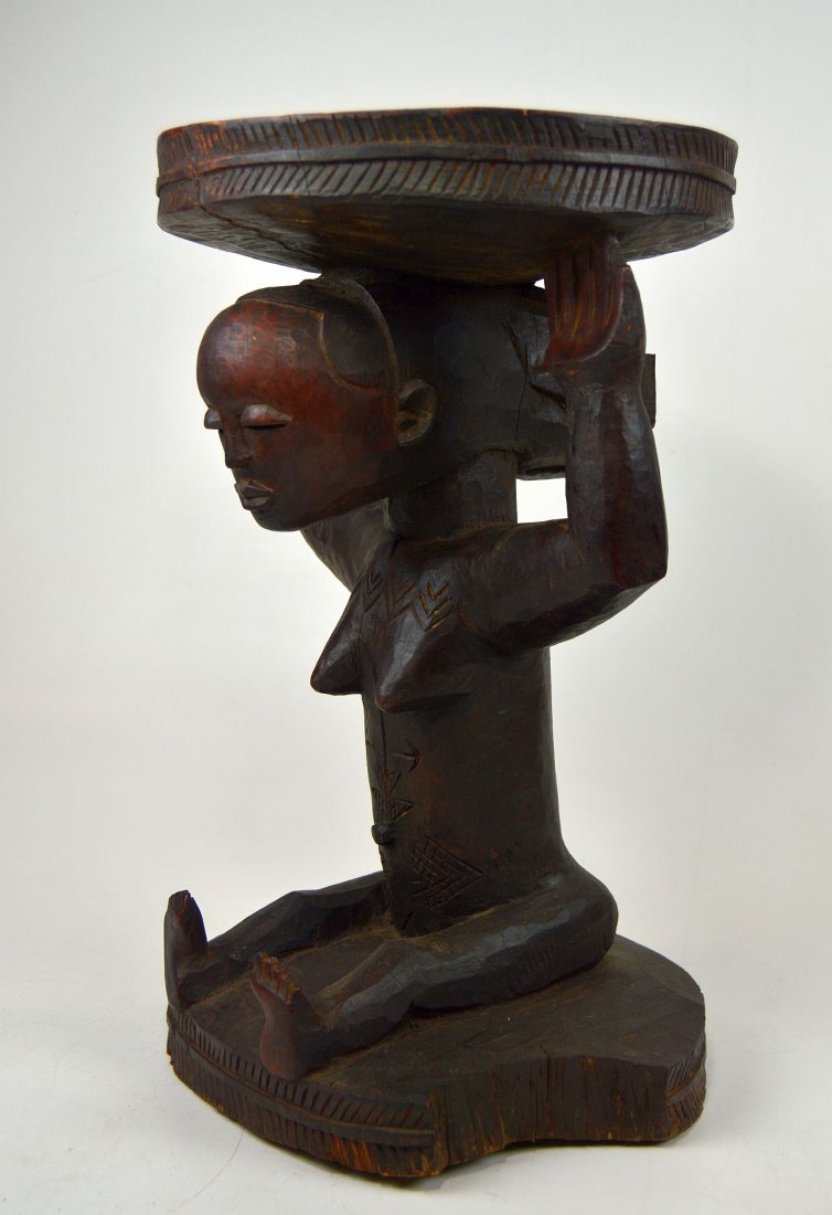 A Very Fine old Luba Prestige Stool, African Art - 4
