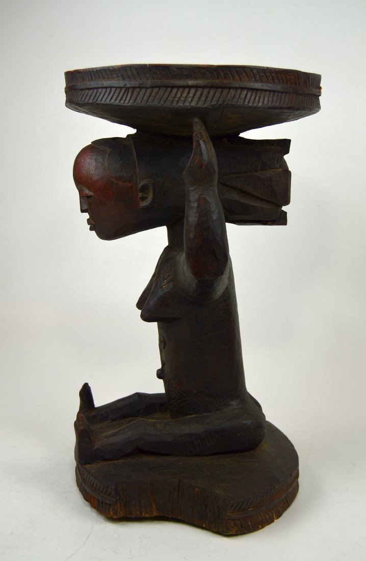 A Very Fine old Luba Prestige Stool, African Art - 5