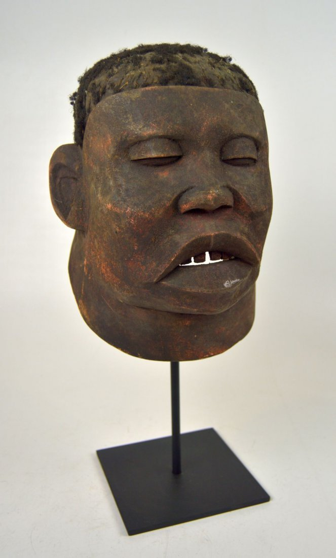 A Red Makonde Lipico Initiation mask African Art - 3