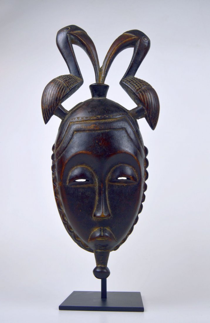 A Fine Baule African mask with Avian finial - 3