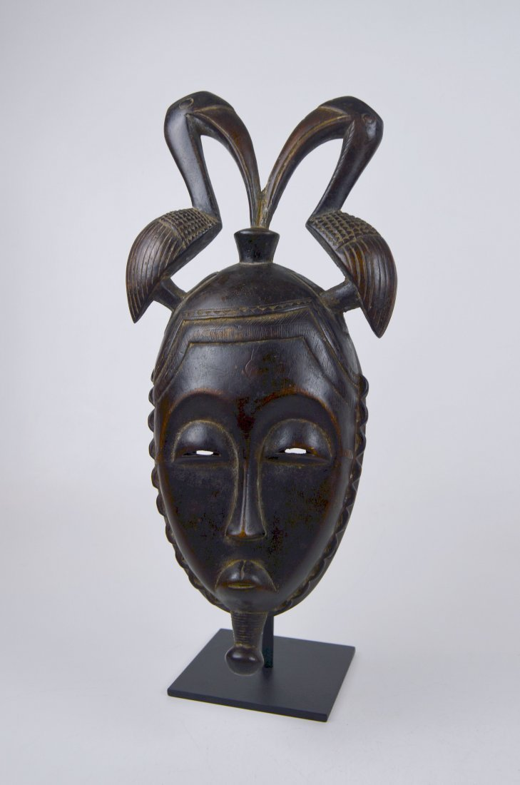 A Fine Baule African mask with Avian finial - 4