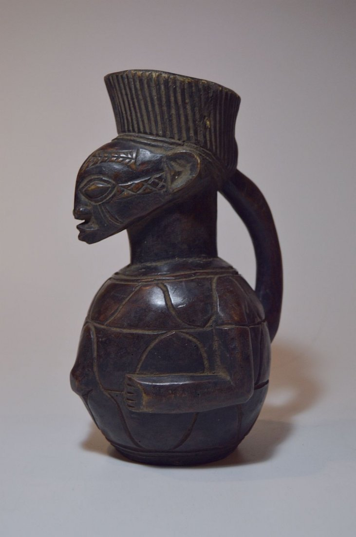 Mangbetu female Wine pitcher carved from Wood, African