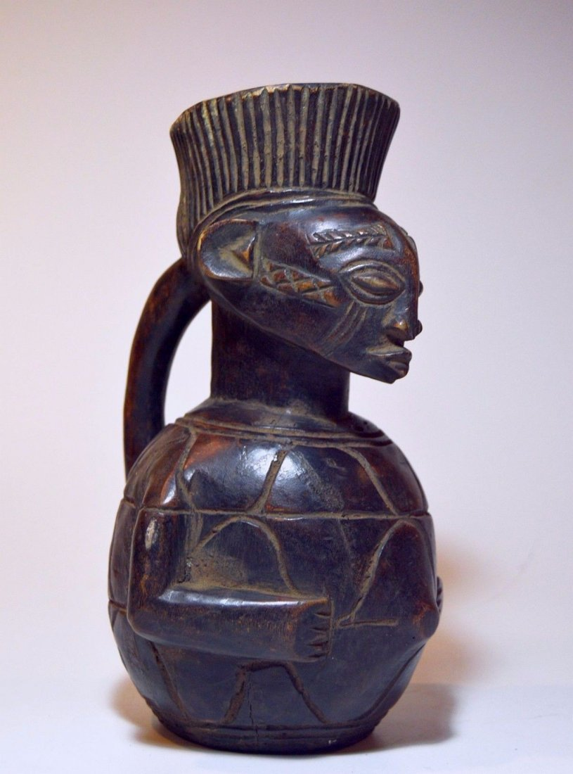 Mangbetu female Wine pitcher carved from Wood, African - 2