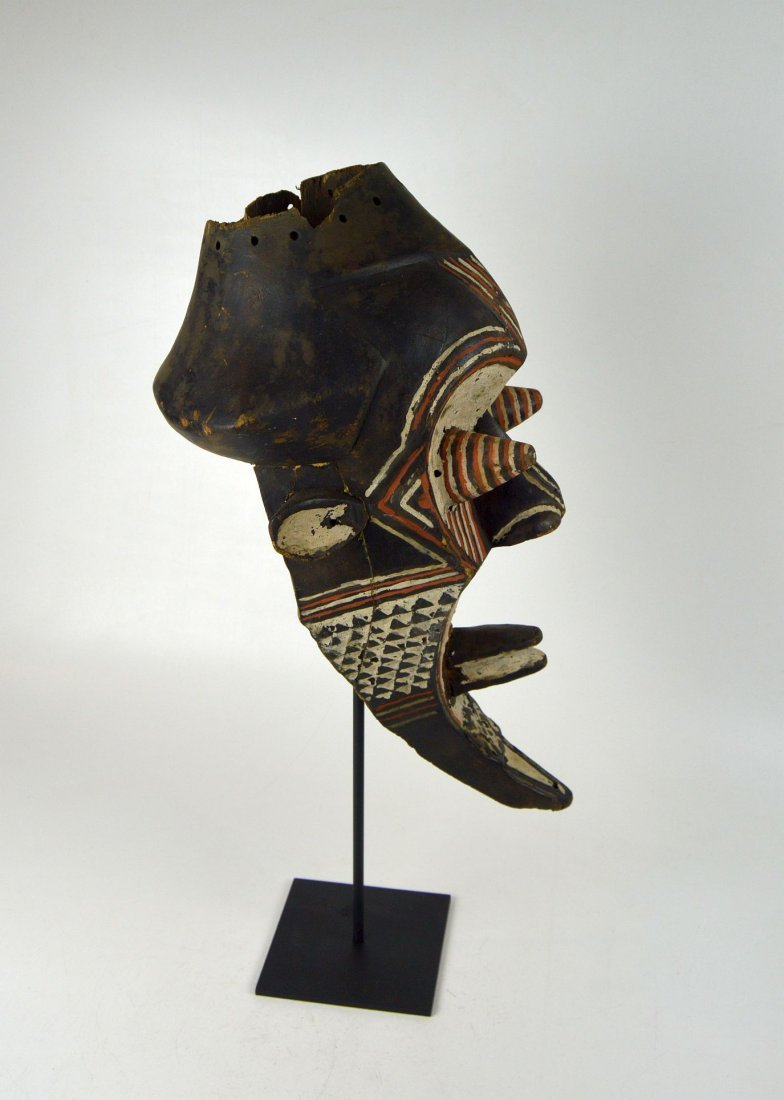 Fantastic Kuba Kete painted African mask - 4