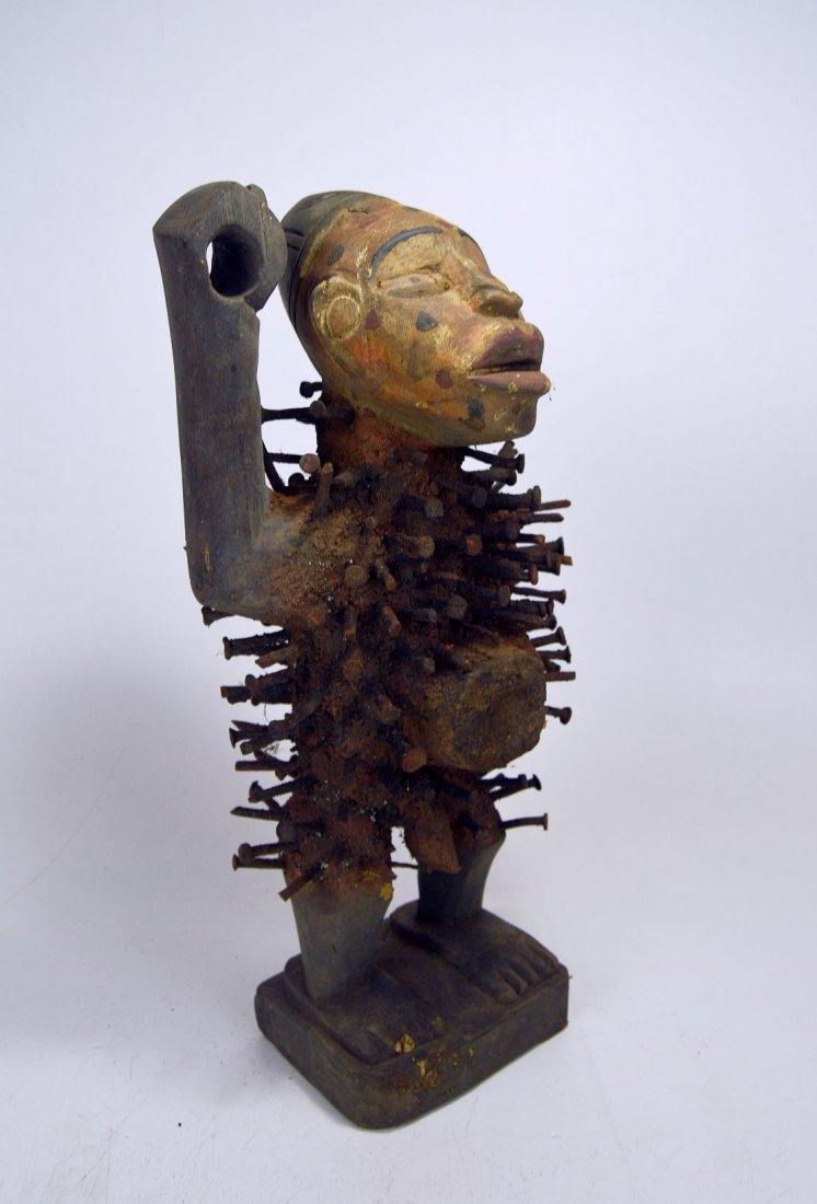 Kongo Nail fetish sculpture , African Tribal Art - 3