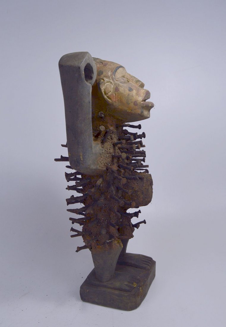 Kongo Nail fetish sculpture , African Tribal Art - 4