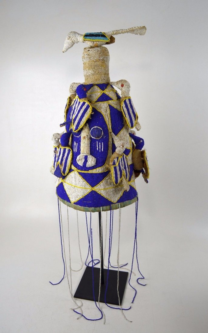 A Fine Yoruba Beaded Crown with Avian images, Blue,Whit