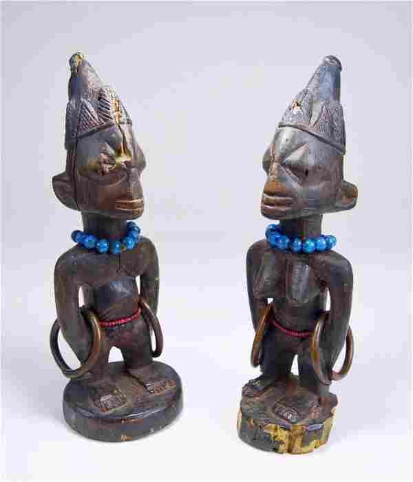 Rare pair of Old Yoruba Ibeji Twin Idols, African Art