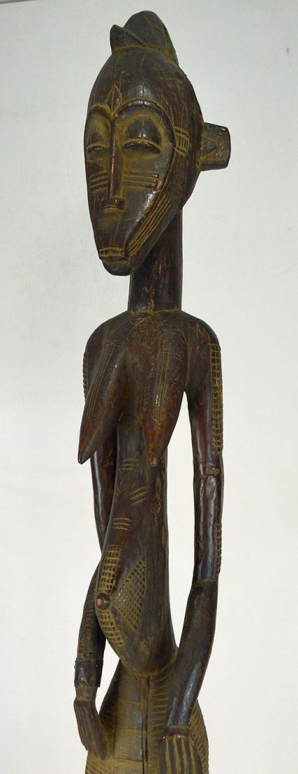 Monumental eroded old Senufo female sculpture, African - 5