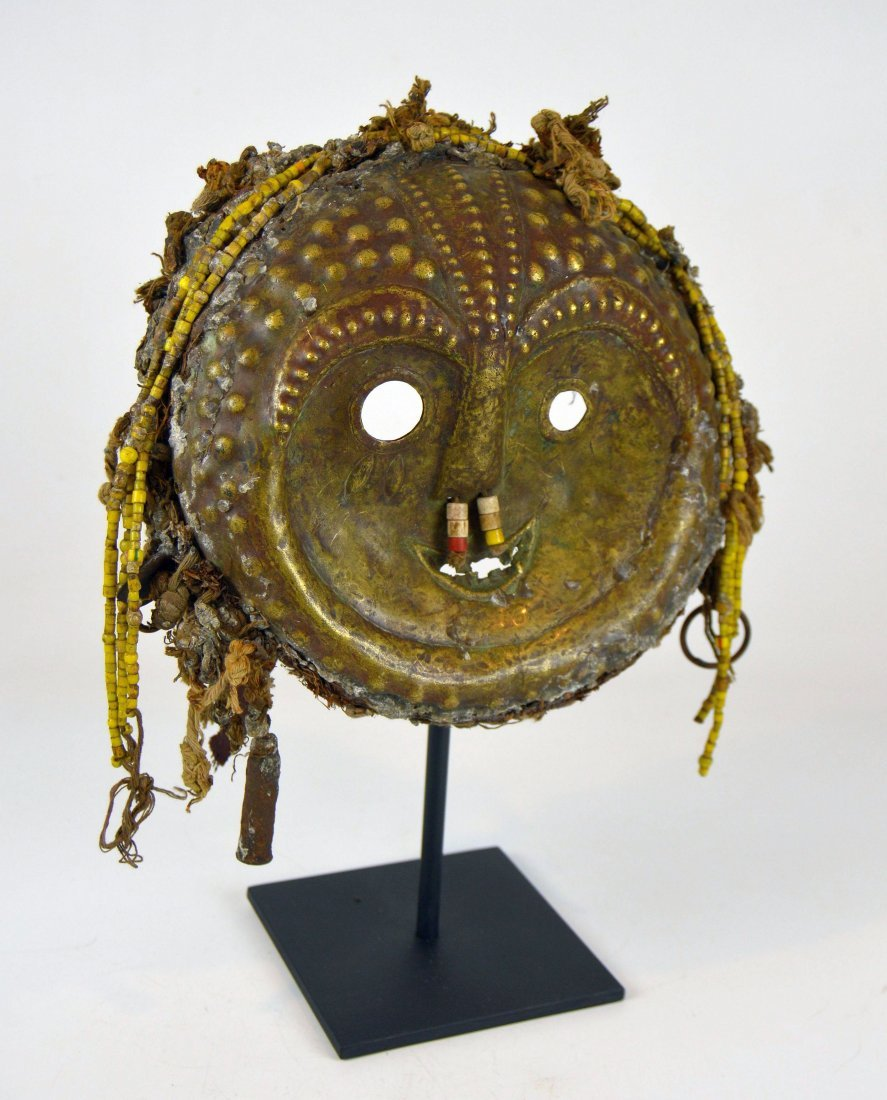 Rare Old Kwese Brass Dance Mask, African Art