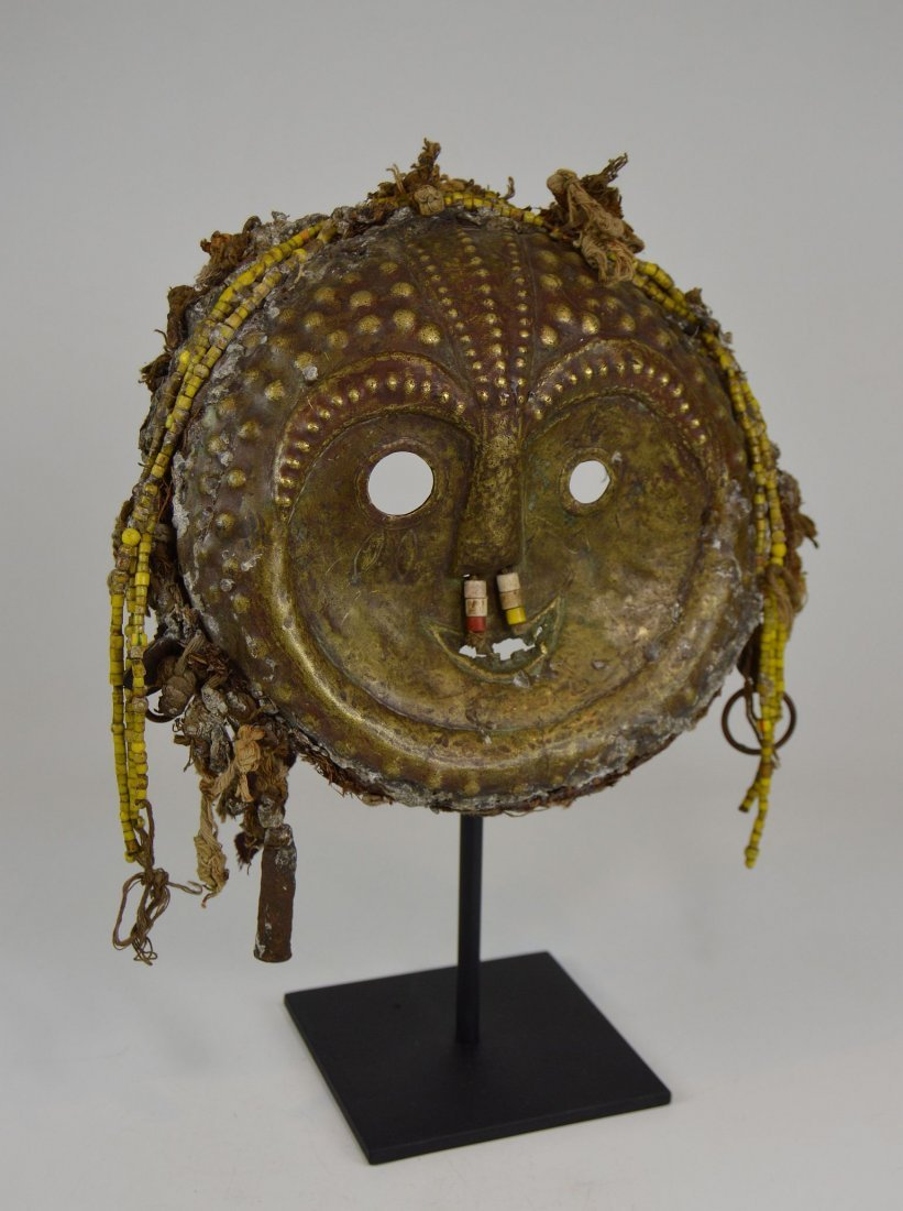 Rare Old Kwese Brass Dance Mask, African Art - 2
