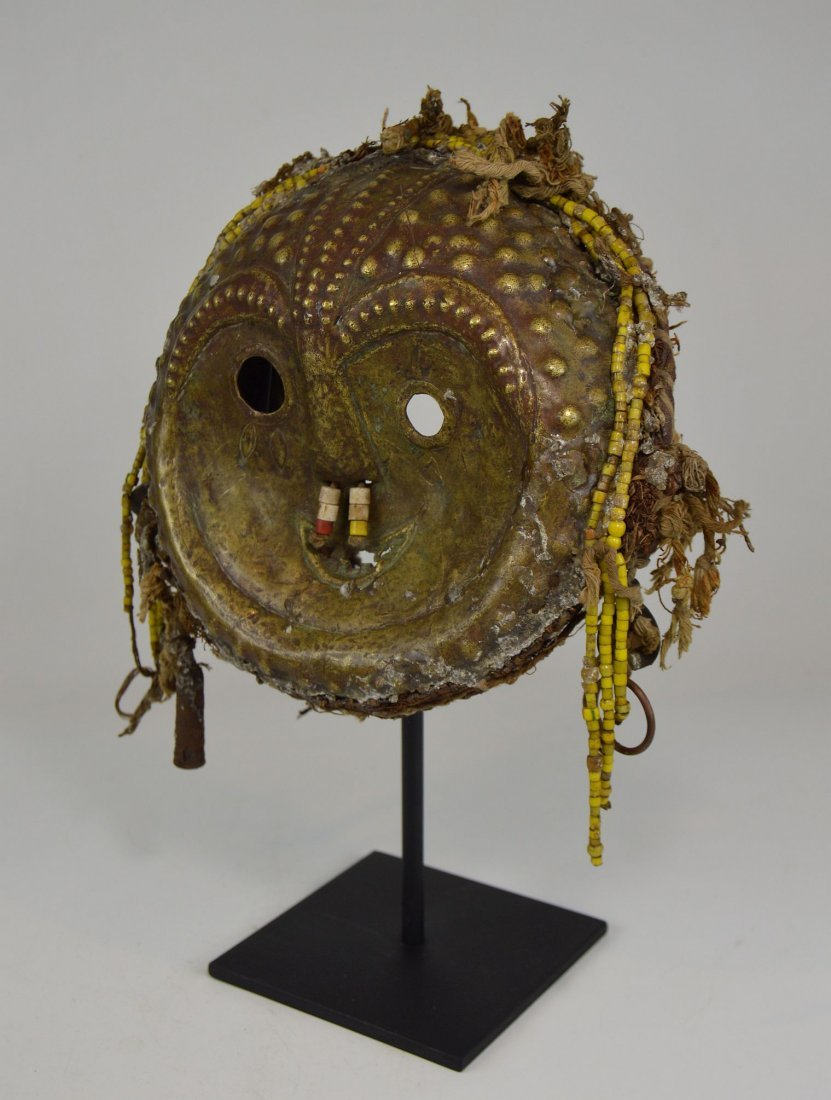 Rare Old Kwese Brass Dance Mask, African Art - 3