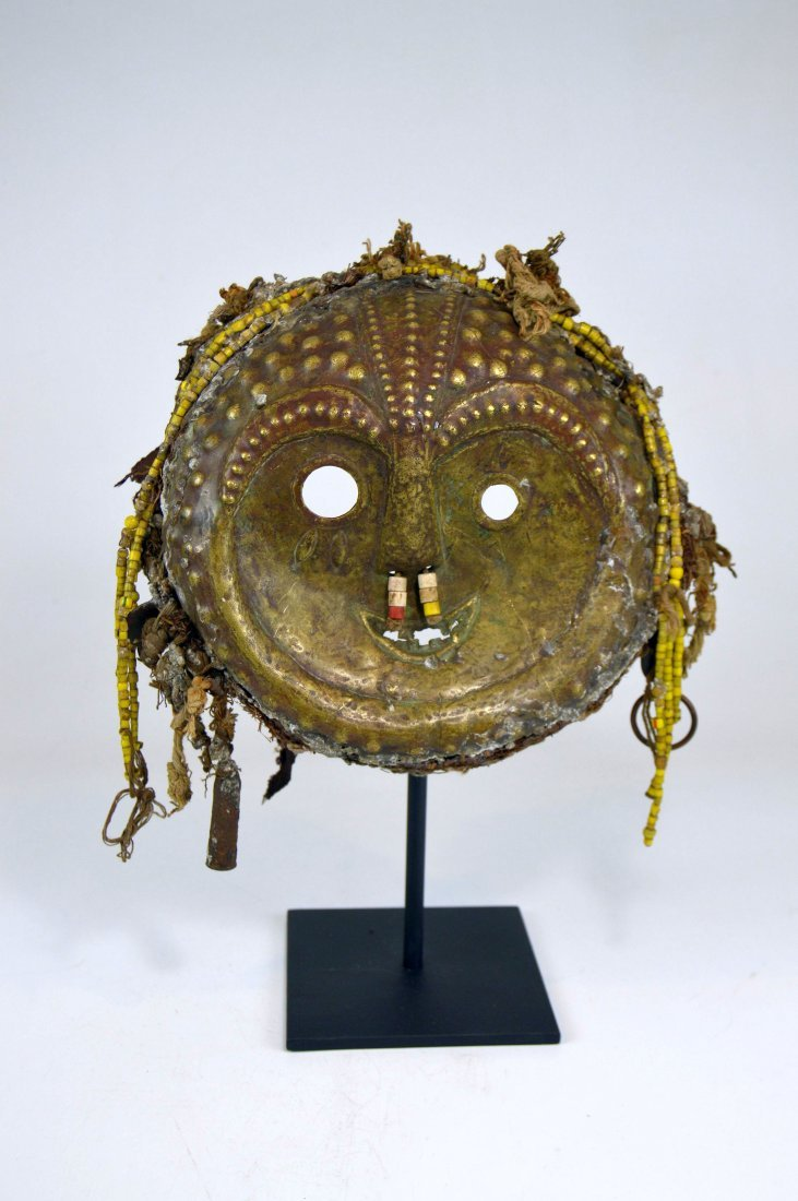Rare Old Kwese Brass Dance Mask, African Art - 4