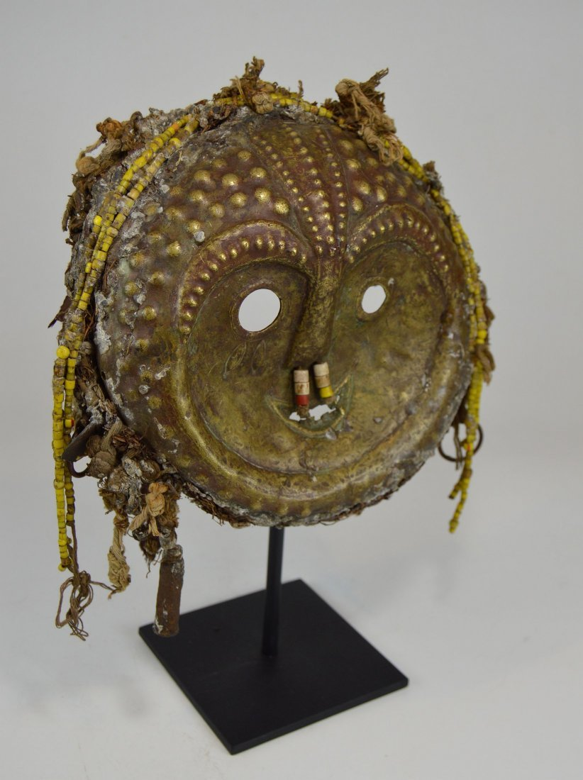 Rare Old Kwese Brass Dance Mask, African Art - 5