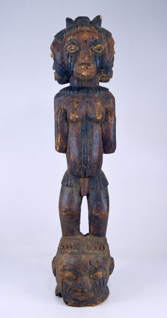 A Large Kuyu Ancestor sculpture w/ 3 faces, African Art