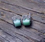 Beautiful Jade and Sterling Marcasite Earrings