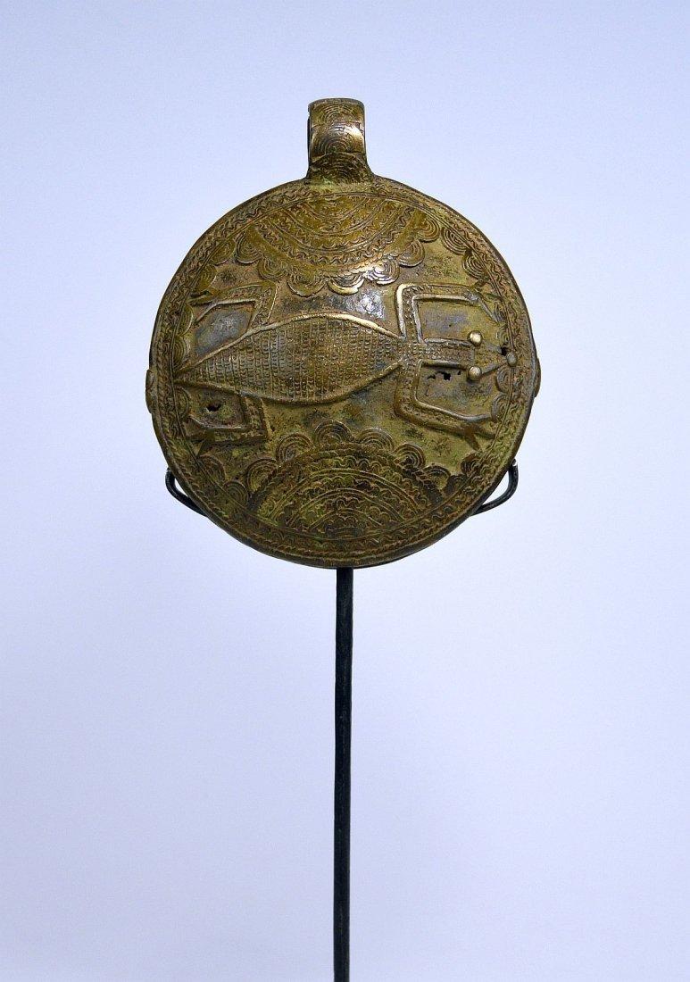 Rare Old DOGON Bronze Bell w/ Lizard Motif African Art