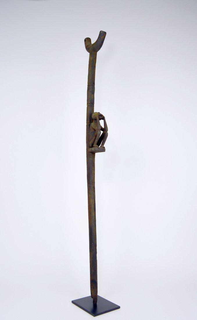 Rare Old Fon Cane Shrine fetish Object Monkey motif - 7