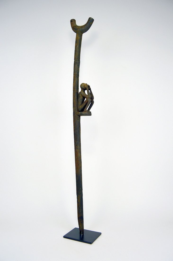 Rare Old Fon Cane Shrine fetish Object Monkey motif - 8