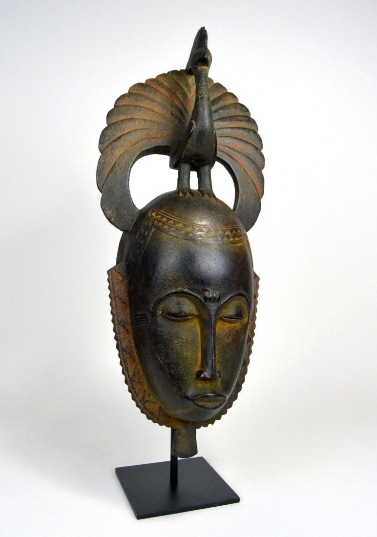 A Lovely Baule African mask with Avian finial - 2