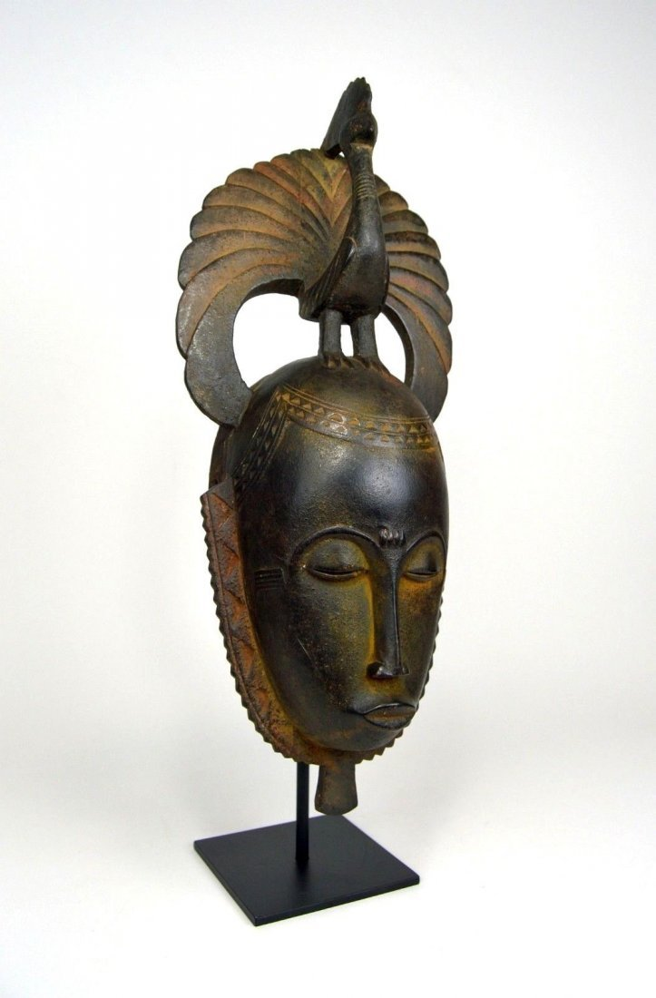 A Lovely Baule African mask with Avian finial - 3
