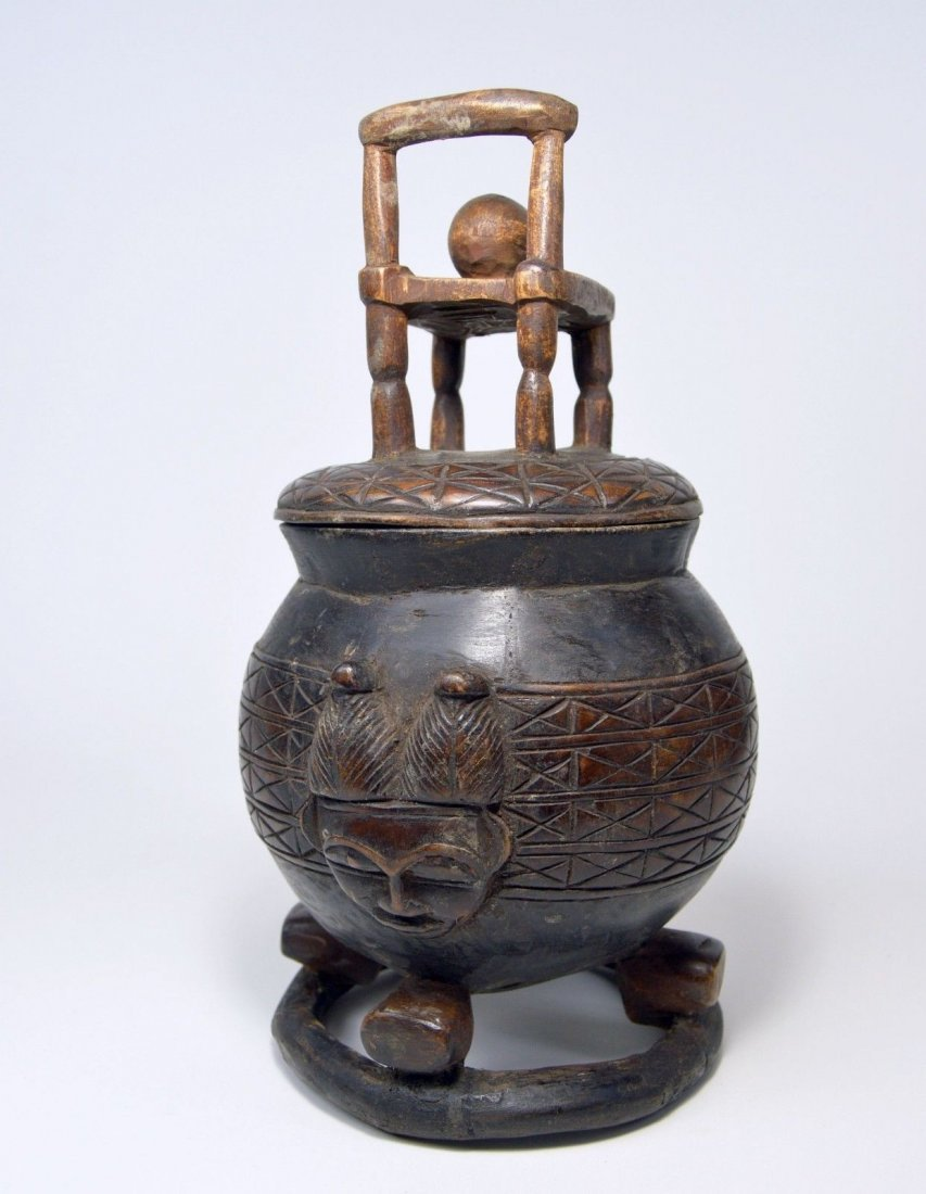 Vintage Baule Ceremonial Container with Chair & Egg - 3