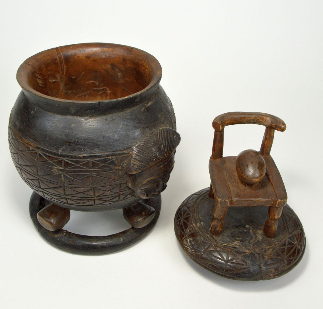 Vintage Baule Ceremonial Container with Chair & Egg - 4