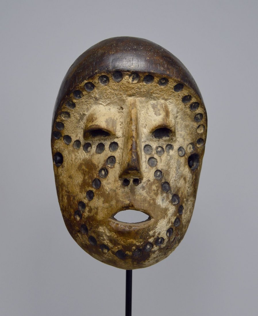 Lega Bwami Society African Mask with spotted designs - 2