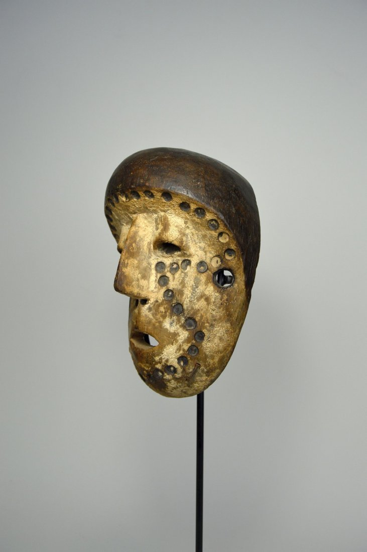 Lega Bwami Society African Mask with spotted designs - 4