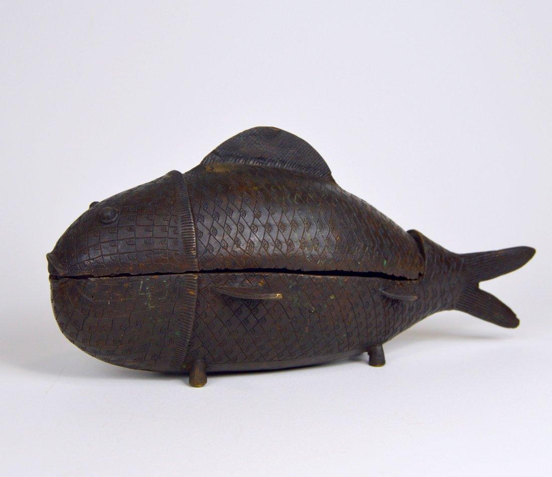 Rare Benin Bronze Fish Container, African Tribal Art