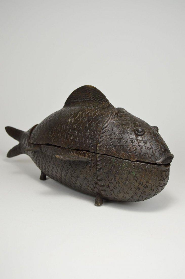 Rare Benin Bronze Fish Container, African Tribal Art - 3