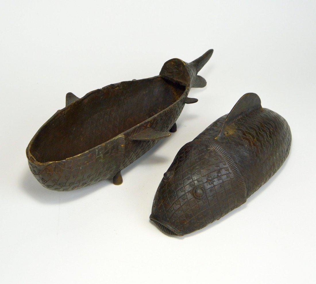 Rare Benin Bronze Fish Container, African Tribal Art - 5