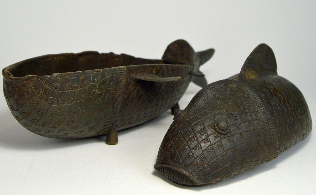 Rare Benin Bronze Fish Container, African Tribal Art - 6
